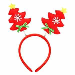 Rameng- Noël Bandeau, Serre Tête Noel Adulte Enfants Coloré Décoration Fête Noël (rouge)