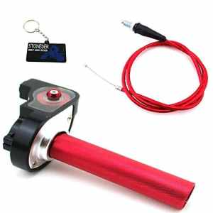 STONEDER 1/4DE Tour Rouge Poignée d'accélérateur + Câble pour 50110125140160CC Dirt Trail Bike