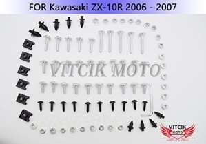 VITCIK Kits de boulons pour moto Kawasaki ZX-10R ZX10R Ninja 2006 2007 06 07 attaches aluminium CNC (Argent)