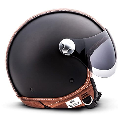 "Armor · AV-84 ""Vintage Deluxe"" · Casque Moto Jet · Helmet Demi Jet Cruiser Retro Chopper Scooter · ECE certifié · Visor · Click-n-Secure™ Clip · Sac fourre-tout · XXL (63-64cm)"