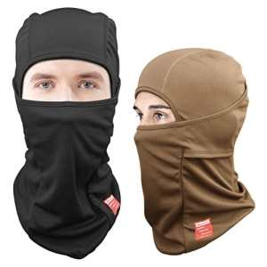 Dimples Excel Cagoules Balaclava Cyclisme Moto Motorcycle Tactical Ski Full Face Mask [2-PACK] (Noir + Marron)