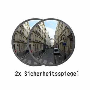 ectxo 2x Sécurité Miroir 30cm 130° Miroir extérieur intérieur extérieur panoramique Miroir convexe pour garage