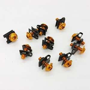 Fatexpress 10x Orange M66mm en aluminium Carénage Boulons kit Corps Fermeture Speed Clips à vis Rondelles Sportbike ajustement universel Honda Cbr1000rr F4i Ducati 848Kawasaki Ninja Zx14r Zx6r 250R Suzuki V-Strom 6001000