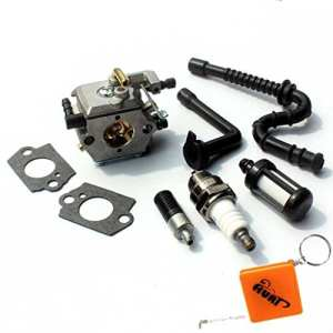 HURI Carburateur et Bougies d'allumage Filtre à Essence / Huile Tuyau Carburant pour STIHL 024 024AV 024S 026 MS240 MS260 Tronçonneuse # Walbro WT-194 / 1121 120 0611 Carb