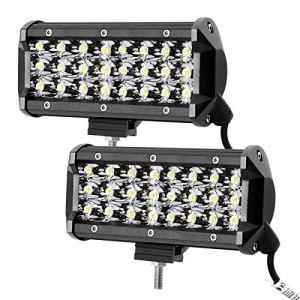 LE Lot de 2 phares de travail LED 72 W 12 V 24 V 7 pouces 7 200 lm 3 rangées de phares de travail LED IP67 Étanche Angle d'éclairage 30 °