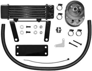 Oil cooler system kit low mount six row black – 7… – Jagg oil coolers 07130112