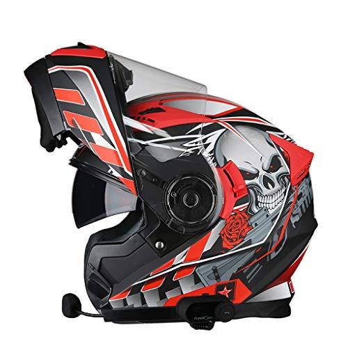OUTO Casque Amovible Quatre Saisons Fonction Bluetooth Anti-buée Double Lentille Casque de Moto Demi-Couverture Complète Conception Ventilation (Couleur : Red Skull, Taille : XXL)