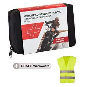 Trousse de Secours Moto GoLab – Petite compacte, kit de Premiers Soins Motards Conforme DIN 13167 Gilet de sécurité adaptée à Tous Pays européens