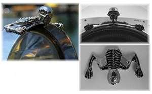 Visière Ornement (L) Phare Chromé Tête de Mort Squelette Moto Highway Hawk