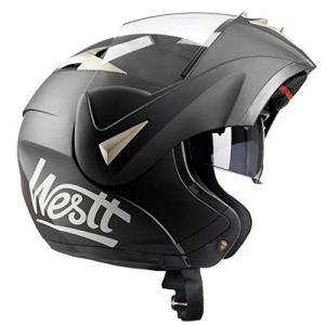 Westt® Torque · Casque Modulable de Moto Noir Mat avec Double Visière · ECE Homologué