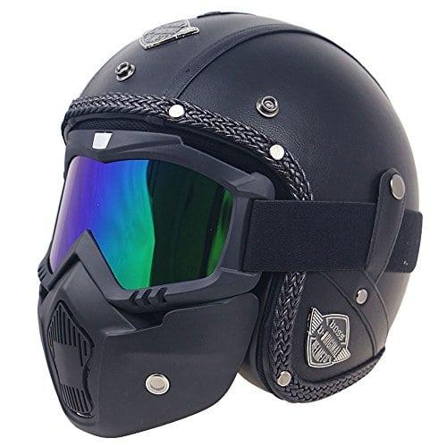 KKmoon Casque Retro Moto Full Face Helmet PU Cuir les Casques de Moto