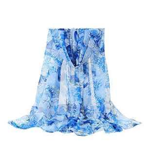 BaZhaHei Foulard Femme Fleurs Voile Douce Châle Foulard Dame Echarpe Longue Doux léger Respirant Elégant(1-Bleu Ciel,160 * 50cm)