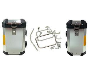Jeu de Valise en Aluminium pour BMW R1150GS/R1150GS Adventure/R1100GS/R850GS avec Support en Acier Inoxydable 38 + 31 l