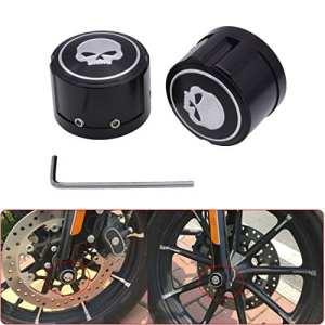 Katur Capuchon pour écrou d'essieu avant Noir pour Harley Sportster XL8831200Electra Street Glide Aluminium Billet CNC Motif tête de mort