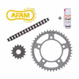 Kit chaîne de moto AFAM Honda CG 125 JC18 1992-1997 avec la chaîne de moto, la couronne, le pignon, attache chaîne + le spray spécial chaîne