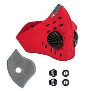 KrisVie Masque Charbon Activé Anti Pollution, Protection Respiratoire, avec Filter en Coton et Soupape d'échappement pour Allergie au Pollen, Activités de Plein Air (Rouge)