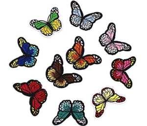 Milopon 10x Butterfly Applique Patchs Coudre sur Embellissements Patchs Brodés Bricolage Vêtements Décoration