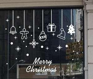 Stickers muraux Hehem Merry Christmas Sticker mural Home Shop Windows Stickers Décor 60 * 70cm, marron