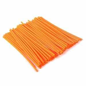 72 pcs Kit de Couvertures Peaux de Rayons de Moto Couvre-jante pour Roues de Motocross Couvre-enveloppes Réfléchissants Universel (Orange)