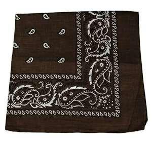Bandana noir style Paisley Cachemire Noir 100%coton 56 cm x 56 cm