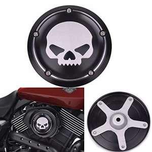 Frenshion Skull Cover Filtre à air Noir Moto Deep Cut CNC Couverture Aluminium Accessoires Décoratifs pour Harley Street XG500 750 2015 2016