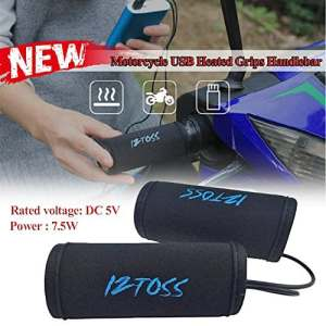 Poignées Chauffantes Moto USB Housse Couverture Chauffage Poignée Electriques Chaude pour Motos Scooter VTT de 22mm-30mm en Hiver (1 Paire)