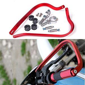 Triclick Protèges mains 7/8 22mm Moto Universel Handguards Protecteur Rouge