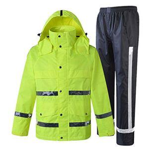 Veste réfléchissante de visibilité Imperméable imperméable à l'eau et pantalon, costume réfléchissant de poncho à capuche imperméable de sécurité pour l'activité extérieure de travail Veste cycliste r