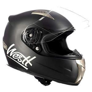 Westt® Storm · Casque Moto Intégral en Noir Mat pour Scooter Chopper · Casque de Moto Homme et Femme Demi-Jet · ECE Homologué