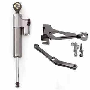 amortisseur et stabilisateur de direction Tampon Barre de contrôle avec support de montage pour Yamaha MT-09 2013-2015 Aluminium Gray&Black