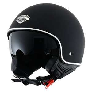 Astone Helmets – Minijet 66 – Casque jet vintage – Casque style rétro US – Casque de moto en polycarbonate – matt black L