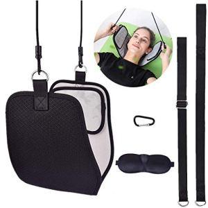 Hamac pour soulager la douleur du cou, portable traction cervicales Massagers, relaxant cou douleur tête hamac (envoyer pochette de voyage et masque pour les yeux)
