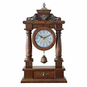 HE-clock Vintage Horloge Murale Quartz Mouvement Pendule Horloges Cadeaux De Noël pour Bois Massif Salon Décor Horloge De Bureau