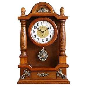 HE-clock Vintage Solide Bois Bureau en Bois Massif Horloge Mouvement À Quartz Pendules Horloges Cadeaux De Noël pour Salon Décor