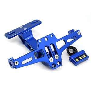 Moto Universel CNC Aluminium Arrière Supports de Plaque D'immatriculation pour Yamaha MT-01 MT-03 MT-07 MT-09 MT-10 TMAX 530 500 YBR 125 XJR1300/ Z650 Z750 Z800 Z900 Z1000 Z1000SX Z300 Z250 (Bleu)