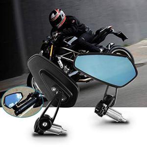Rétroviseurs Moto, Aolead Moto Latéraux Miroirs 7/8» 22mm Usiné CNC Pour Moto – Noir