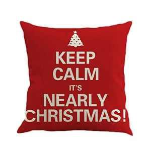 Taie d'oreiller de Lin taie d'oreiller de Noël taie d'oreiller Housse de Coussin Chambre canapé Chaise décoration pour Une Utilisation de Bureau à Domicile – Rouge