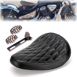 Triclicks Selle Moto Solo Noir pour Bobber/Sportster/Custom avec Ressorts/Support Kit