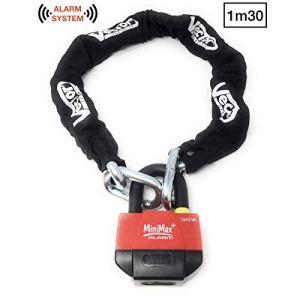 Vector Kit antivol chaîne 1,30m + cadenas/bloque-disque MiniMax Alarm+ SRA