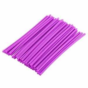 36 pcs 17cm Couvres Rayons Kit de Protections de Jantes de Roues de Moto Spokes Skins Set Protections Décor Universel Pour Motocross Dirt Bike Rayons d'Enveloppes Housse de Roue en Plastique(Purple)