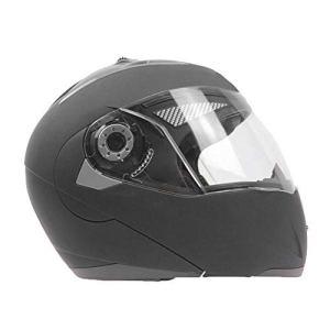 AnySell Casque de Moto Casque de Moto intégral Rabattable à Double lentille M Noir