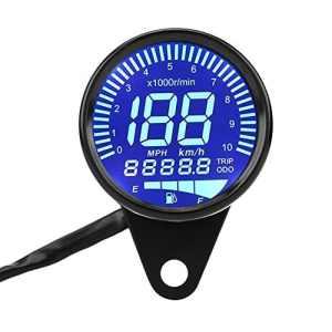 Compteur de Vitesse de Moto, Keenso Odomètre Tachymètre 66mm Universel Digital LED Compte-tours Compteur Kilométrique Indicateur de Vitesse Noir