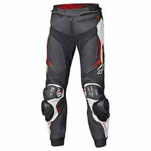 Held GRIND II Pantalon de moto pour homme en cuir de vachette noir/blanc/rouge avec empiècements élastiques aux genoux, poche pour protection du coccyx et fermetures Éclair d'aération 48
