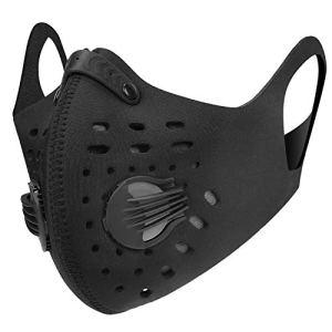 Kutook Masque Protecteur Anti Pollution Masques Opératoire Anti Poussiere Carbone Activé pour Outdoor en Plein Air Moto Course Velo(Noir,Épais+Confort)
