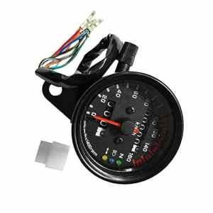 Lorenlli Compteur de vitesse moto compteur kilométrique double jauge de vitesse avec indicateur LCD accessoire de modification Vintage