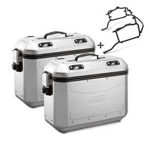 Paire de valises latérales Set Kawasaki KLV 1000 04-06 Givi Monokey DLM36 argent 36 litres