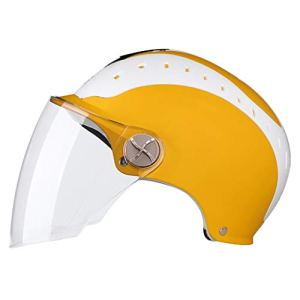 ASDQ Casques de moto pour hommes et femmes General Electric Vehicles Summer Half Casques Légers respirants Lunettes transparentes (Color : Yellow-dark brown mirror)