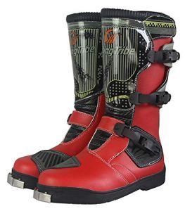 Bottes de Moto Anti-Chute Chaussures de randonnée Hors Route Chaussures de Moto de Voyage d'aventure-red-44EU/8.5UK/9.5US