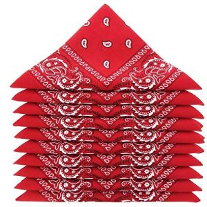 Lot de bandanas 100% Coton paisley foulard fichu – Rouge – Lot de 20 identiques