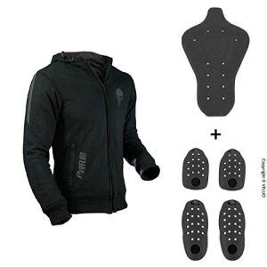 VFLUO Full Protect Sweatshirt™, Sweat à Capuche Moto doublé 100% Kevlar, Réfléchissants 3M Technology™, Protections intégrale Anti-Choc Ultra-Souple SAS-TEC™, Noir, Skull tête de Mort, L
